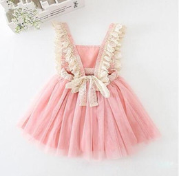 Vestidos De Fiesta Del Bebé De Los Cabritos Baratos-Hot Retail 2017 Baby Girls Tulle Lace Party Dresses Niñas Princesa tutú Vestido de Niña Primavera Verano Vestido de la Suspensión Ropa para Niños