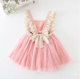 Barato Primavera Bebê Verão-Hot Retail 2017 Baby Girls Tulle Lace Vestidos de festa Kids Girls Princess Tutu Vestido Girl Spring Summer Suspender Dress Roupa infantil