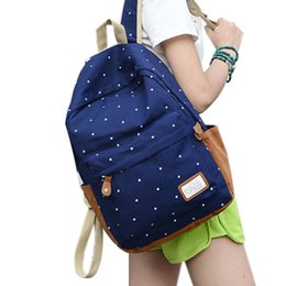 221a8ac8cb5b Wholesale-Women Backpack 2015 New Ladies Shoulder Bag White dots Printing  Backpacks School Bags For Teenage Girls Canvas Book Bag Women