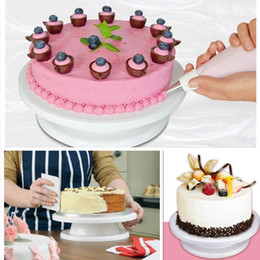 plastic table display stands Canada - Freeshipping DIY Cake Turn Table Rotating Icing Revolving Display Stand Kitchen Tool