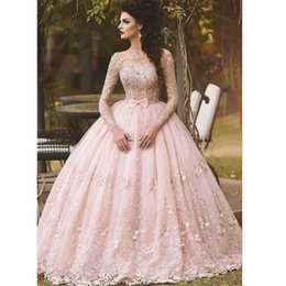2016 peach pink lace applique ball gown wedding dresses cheap bateau long sleeves bride gowns with bow