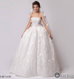 Strapless Full Skirted Wedding Dress NZ - Romantic Strapless Ball Gown Wedding Gowns Strapless Full Lace Garden Bridal Dresses Vintage Wedding Gowns 2016