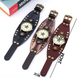 $enCountryForm.capitalKeyWord Canada - Jewelry Hip-hop Gothic Leathernk Style Mens Wrist Watch Wide Brown Black Leather Cuff Star Watches 18 Style