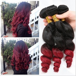 2tone Hair Canada - Red Ombre Human Hair Extensions Brazilian Loose Wave Virgin Hair 3Pcs Lot 2Tone 1B Red Dark Roots Ombre Human Hair Weave Bundles