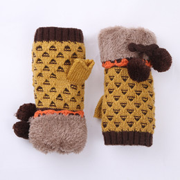 Knitted double gloves online shopping - 200pcs New style snow show half refers to the double layer protection knitted and jacquard gloves