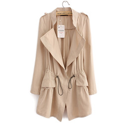 trench coat fashion UK - Autumn New Korean Slim Women's Trench coat Fashion Casual Women Thin section Windbreaker And Long Sections Solid color coats jackets