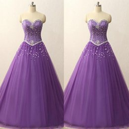 Orange Violet Clair Pas Cher-2017 Robe violet violet et lavande Robe princesse Sweet 16 Robes Sweetheart Crème sans manches Tulle Prom Party Gowns