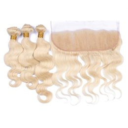 34 inch russian blonde hair UK - #613 13X4 Russian Body wave lace frontal closure with bundles human hair wave Blonde virgin hair weaves with frontal 4 pcs lot