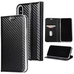 Chinese  super slim card holder flip carbon fiber leather wallet case for iphone x 6s manufacturers