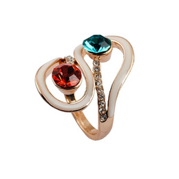 Discount gypsy cluster ring - Drip Color Crystal Light alloy plating KC gold ring 1pcs lot drop shipping