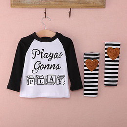 Play Clothes Brand NZ - 2016 Baby Kids Girls Boys Long Sleeve Letter Printed Play Top T-shirt +Stripe Leggings Anklets Outfits Clothes Sets 0-4Y