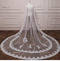 $enCountryForm.capitalKeyWord Canada - Newest Best Selling Luxury Real Image Wedding Veils Three Meters Long Veil Lace Applique Crystals one Layers Cathedral Length Cheap Bridal