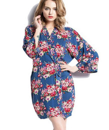 pink robes wholesale Canada - 2016 womens cotton floral Robe Ladies Pajama Lingerie Sleepwear Kimono Bath Gown pjs Nightgown #4003