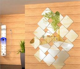 Cartoon Wall Tiles For Bathroom Canada - Square 36pcs 15cm Wall Decoration Acrylic Mirrored Decorative Sticker Room Decoration DIY Wall Art Home Decor