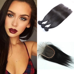virgin remy indian hair weave closure 2019 - Straight Indian Hair Bundles with Free Lace Closure Indian Remy Virgin Human Hair Weaves Dyeable Free Shipping G-EASY ch