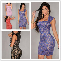 Robes De Bal D'empire Nu Pas Cher-Plus Size XL XXL Été vestidos de Festa Prom Sexy Robe à la fête Elegant élégant Royal-Blue Lace Nude Illusion Vintage Bodycon Dress