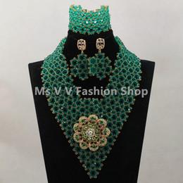 $enCountryForm.capitalKeyWord Australia - Wonderful Teal Green Nigerian Wedding Jewelry Set for African Women Costume Laces Dress Party Jewelry Set Free Shipping