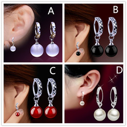 White Stone Ear Studs Canada - Fashion Red Black Agate White moonstone Opal Stone pendant 925 Sterling Silver stud girl Ear Jewelry Mirror earring for women Wholesale