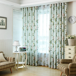 living curtains NZ - Printed Floral Rideaux Cuisine Polyester Curtain For Living Room BedRoom Kitchen Pastora tulle curtains Flowers Drapes Windows