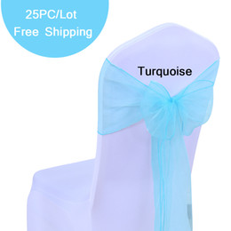 Pack Supplies Canada - Free Shipping 25PC Pack New Organza Chair Sahses Bow Wedding & Event Supplies Party decor 24 Colors Organza Pew Chair Bows of Home Outdoor
