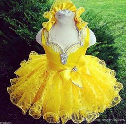 Barato Menina Vestidos De Renda Amarela-Shinning Yellow Girls Siteant Dresses Beaded Ruffles Lace Baby Cupcake Mini Ball