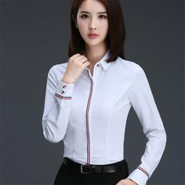 Vente en gros Chemisier chaud chemise femmes coton / polyester blouses à manches longues rabattent col chemises dames tops mode vêtements de bureau