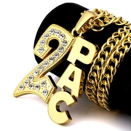 gold plating letter pendants Canada - Fashion Rock Top quality 24k Gold Plated Hip hop Rapper DJ Alloy 2PAC Letter crystal 2 PAC Letter Pendants long Necklaces 80cm Long jewelry