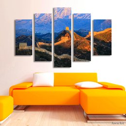 $enCountryForm.capitalKeyWord UK - 5 Panel Famous Chinese Landscape Canvas Painting Print Great Wall Painting for Living Room Wall Art Home Decoration Unframed
