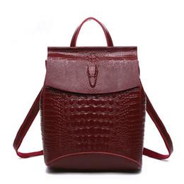 $enCountryForm.capitalKeyWord NZ - Women Backpack High Quality Split Leather Shoulder Bag Female Crocodile Prints Large Multifunctional Backpack 4 Colors
