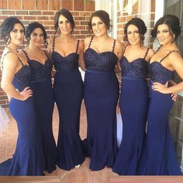 Barato Vestido Sem Alças Barato Da Sereia-2018 New Design Cheap Mermaid Bridesmaid Dresses Beads Crystals Satin Backless Sexy Andar Comprimento Maid of Honor Vestido Wedding Guest Dress