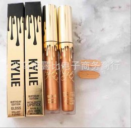 Paquete De Lápiz Labial Baratos-¡Valores! Kylie Jenner Cumpleaños Edición LORD Metal Mate Lip Gloss Kit Líquido Labios Lip Brillo Maquillaje Brands Gold Pack DHL Free Shipping