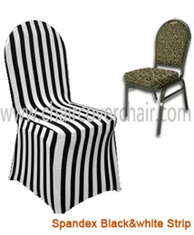 plain white chair covers UK - 100PCS A Lot Free Shipping Spandex Stretch Universal Dining Chair Cover Black-White Stripe Print Chair Cover