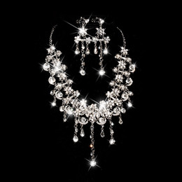 Cheap Jewelry Sets Free Shipping NZ - Sparkly Bling Crystals Diamond Necklace Jewelry Sets 2019 Bridal Earrings Rhinestone Crystal Party Cheap Wedding Accessories Free Shipping