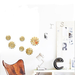 decorative gold mirrors. DIY creative decorative mirror acrylic removable stickers gold silver  chrysanthemum new 2016 European and American fashion Decorative Gold Mirrors Online for Sale