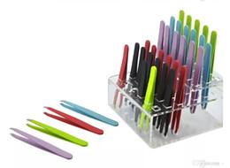 Atacado-24pcs colorido aço inoxidável inclinado ponta beleza sobrancelha pinças depilação ferramentas menor preço melhor promoção frete grátis