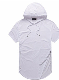 China Man Justin Bieber Summer Tshirts Longline Curve Hem t shirt Hooded Zipper Design Short Sleeved Casual Tops for Male cheap design neck shirt for men suppliers