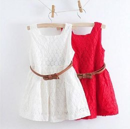 red baby vest UK - Wholesale Summer Baby Girl Clothes Lace Vest Princess Dress Red White 1lot=5pcs Boat Neck Baby Clothes