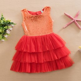 Enfants Jolies Robes Dentelle Pas Cher-Summer Girls Dress Kids Sequin Bowknot Robe Lace Tutu Robe Baby Pretty Party Dress DHL Shipping