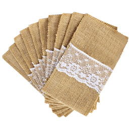 $enCountryForm.capitalKeyWord Australia - Birthday Party 100Pcs  Lot Burlap Cutlery Holder Vintage Shabby Chic Jute Lace Tableware Pouch Packaging Fork &Knife Pocket Home Textiles