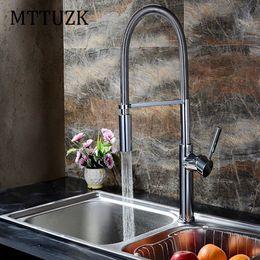 MTTUZK Top Quality Polished Chrome Spring Spray Kitchen Mixer Faucet Basin Faucet  Luxury Kitchen Sink Tap Accessories 1pcs Lot