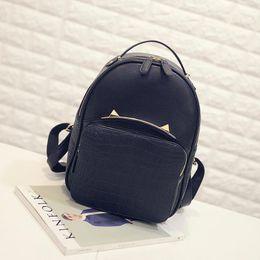 $enCountryForm.capitalKeyWord Canada - Backpack Women Summer Ladies Leather Handbags Mini New Kitten Bag Ears Shoulder Bags Handbag PU Black Female Sweet Girl Backpack Cute