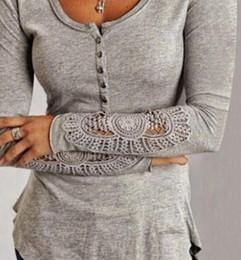 Cotton T Shirts Lace Canada - 2016 Autumn Long Sleeve Lace Cotton Slim Women T Shirts Crew Neck Button New Style Women Tops Cheap Women Clothing Gray Black White Colors
