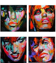 $enCountryForm.capitalKeyWord Canada - 4pcs Palette knife portrait Faces,Pure Hand Painted Modern Wall Decor Abstract Art Oil Painting On High Quality Canvas.customized size al-Ea