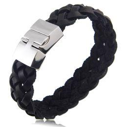 Black titanium Bracelets online shopping - High Quality Titanium Steel Multilayer Braided Leather Bracelets Men Bangle Men Jewelry Genuine Leather Bracelet For Men