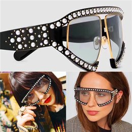 Pearl eyewear online shopping - Fashion popular avant garde style oversized goggles inlaid pearl rivets frame and legs top quality uv protection eyewear with box