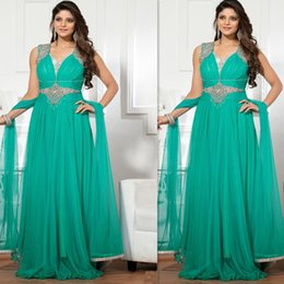 $enCountryForm.capitalKeyWord Canada - Indian Prom Dresses 2016 Turquoise Green Plus size Evening Gowns Long Chiffon Beaded Special Occasions Dress For Fat Women Free Shipping