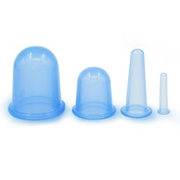 Barato Copos De Silicone Médicos-4PCS / Set Body Massagem Taça Facial Cupping Massagem Medical Copos de Silicone Vacuum Suction Therapy Anti Cellulite Health Care