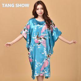 243891fce8 Wholesale- Light Blue Chinese Women Faux Silk Robe Dress Vintage Printed  Kimono Kaftan Bath Night Gown Sleepwear Floral Plus Size RB0026