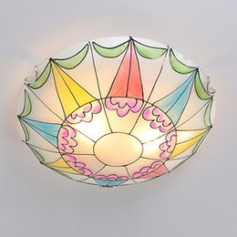 Mediterranean Painted Glass Baby Room Ceiling Fixtures Cute Child Bedroom  Ceiling Lamp Kitchen Balcony Ceiling Light