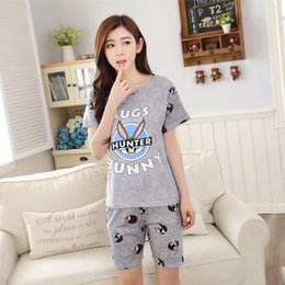 d56ca0e3568e2 Wholesale- Women Pajamas Sets Hot Summer Short Sleeve Thin Cotton Cartoon Print  Cute Loose Sleepwear Girl pijamas Mujer Nightgown For Women